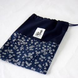 Passport Bag japanese fabric SAKURA Blue