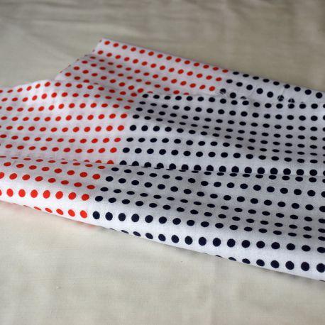 Ténugui-Mamé motif pois blues et rouges